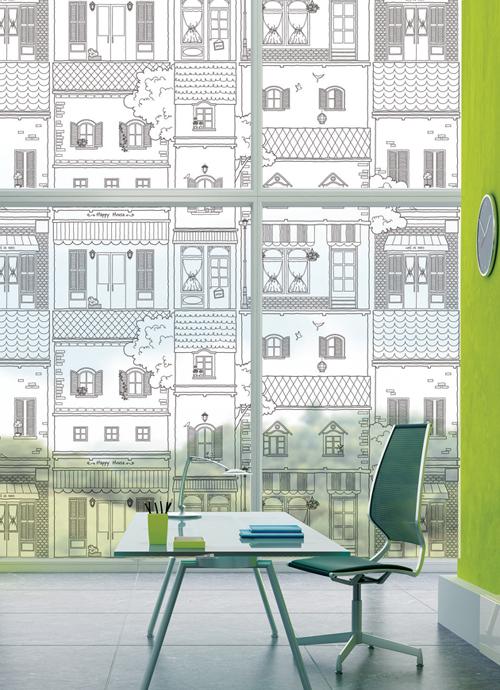 Avansert → Huse i gader Med hvid print Mønster til Vinduer - Selvklæbende OC-92